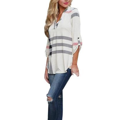 Imagen de Fashion Plaid Printed V-Neck 3/4 Sleeve Top