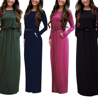 Bild von Round Neck Long Sleeve Maxi Autumn Dress With Belt And Pockets