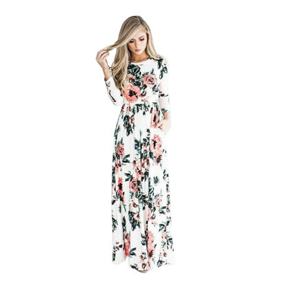 Bild von Women's Long Sleeve Floral Maxi Dress With Pockets