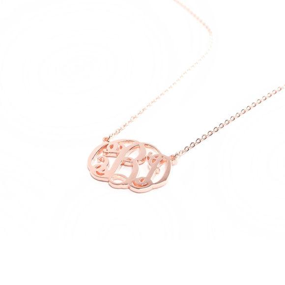 Bild von Ausgefallene Monogramm-Halskette aus Sterlingsilber - Individualisieren Sie diesen Anhänger mit Ihren Initialen
