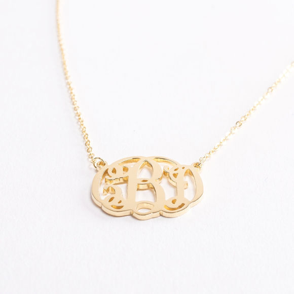 Picture of Fancy Monogram Necklace in Sterling Silver - Customize this Pendant with Your Initials