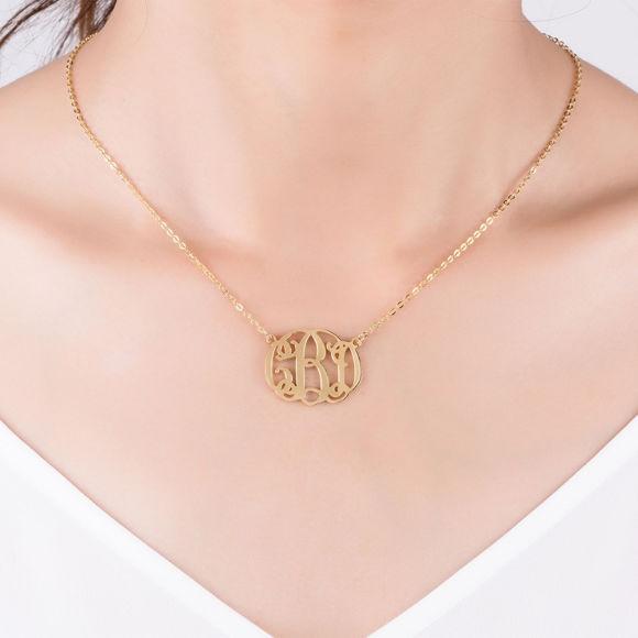 Imagen de Conjunto de colección de collar y pulsera con 3 iniciales monograma