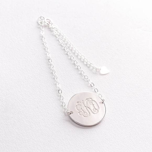 Picture of 925 Sterling Silver Monogram Disc Bracelet - Custom Made with Any Initial