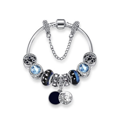 Imagen de Radiation Protection Blue Star Vintage Glass Bracelet With Stars Moon Pendant