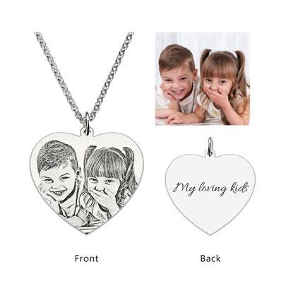 Imagen de Collar colgante con foto de corazón grabado en plata de ley 925