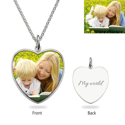 Picture of Heart Engraved Epoxy Color Photography Necklace Stainless Steel