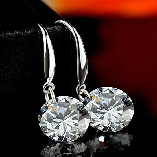 Immagine di Sterling Silver Inlaid Zircon Hanging Earrings