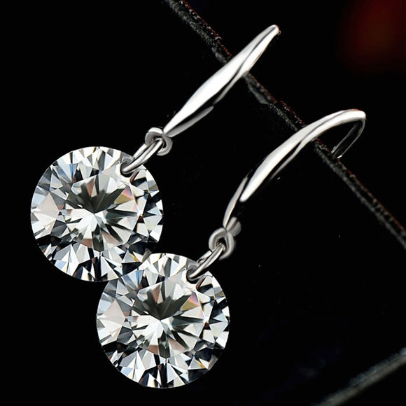 Imagen de Sterling Silver Inlaid Zircon Hanging Earrings