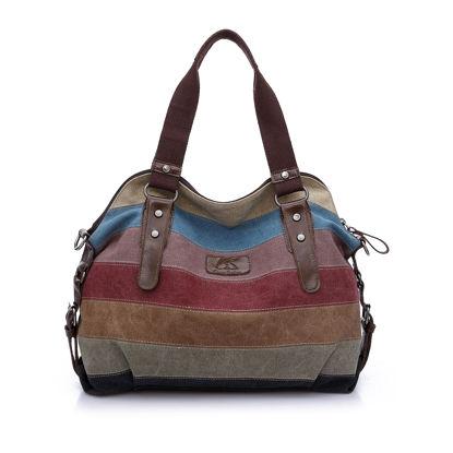 Immagine di Women Retro Rainbow Casual Canvas Shoulder Tote Bag