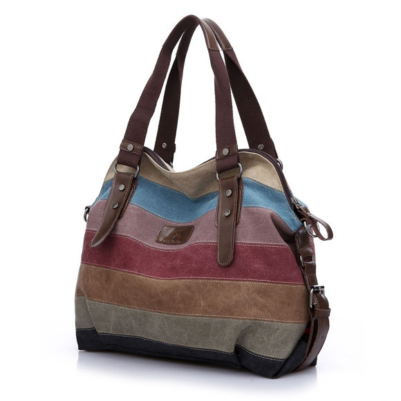 Picture of Women Retro Rainbow Casual Canvas Shoulder Tote Bag