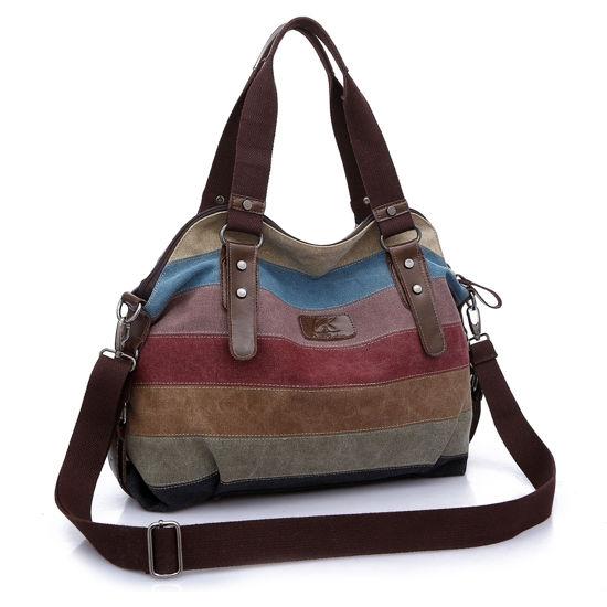 Imagen de Women Retro Rainbow Casual Canvas Shoulder Tote Bag