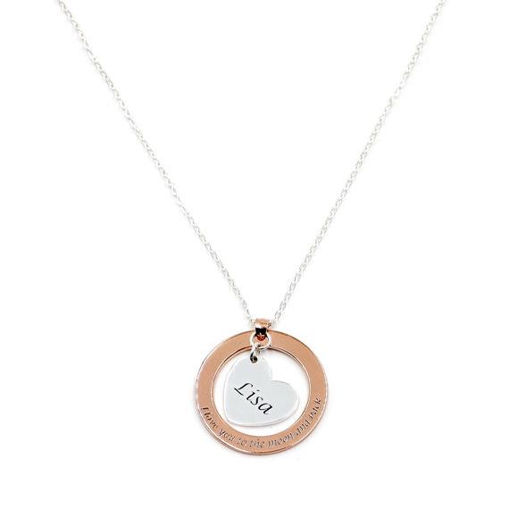 Imagen de Collar con colgante de círculo interior personalizado de plata esterlina 925