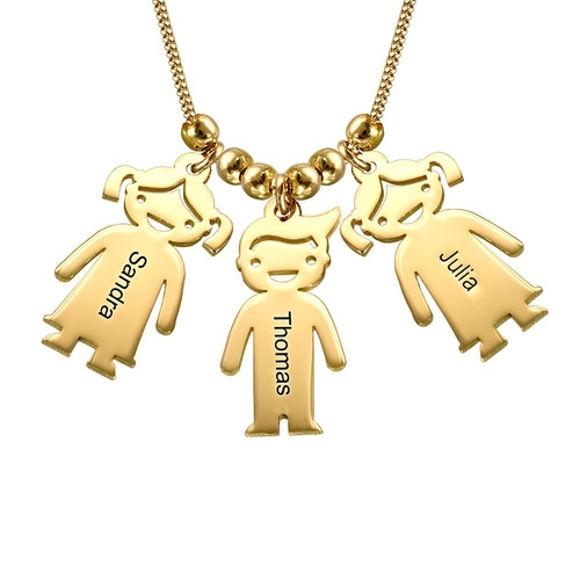 Immagine di Collana da mamma in argento con ciondoli per bambini