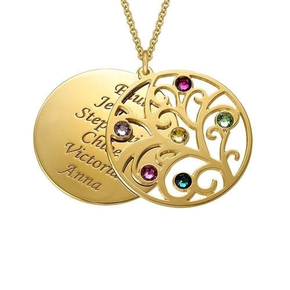 Picture of Personalized Family Tree Birthstone Name Necklace in 925 Sterling Silver