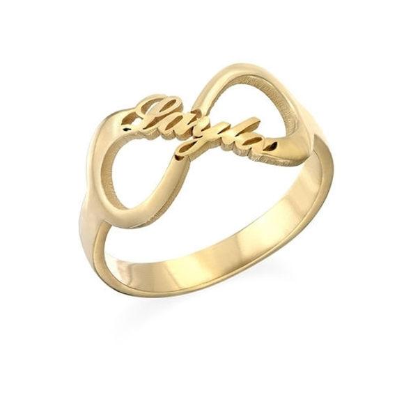 Image de Bague avec Nom Personnalisé Infinity en Argent Sterling 925