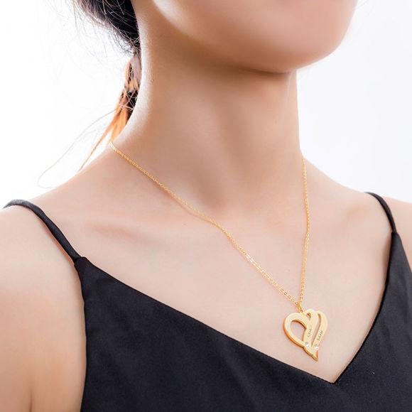 Imagen de Collar con nombre personalizado de dos corazones para siempre en plata de ley 925