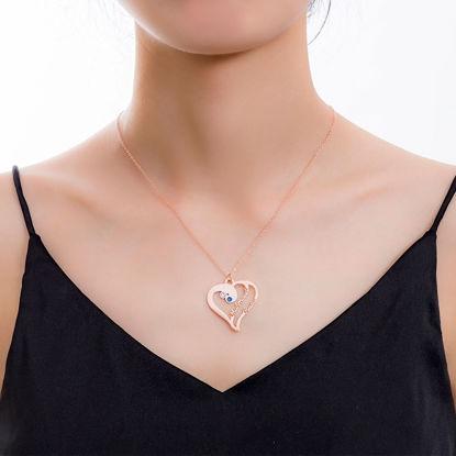 Imagen de Collar Love Heart con dos nombres personalizados en plata de ley 925