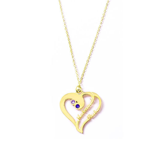 Imagen de Love Heart With Two Custom Names Necklace in 925 Sterling Silver