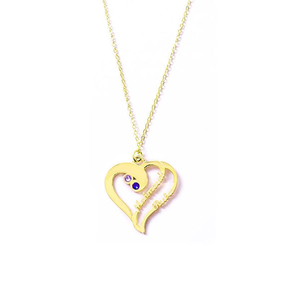 Picture of Love Heart With Two Custom Names Necklace in 925 Sterling Silver