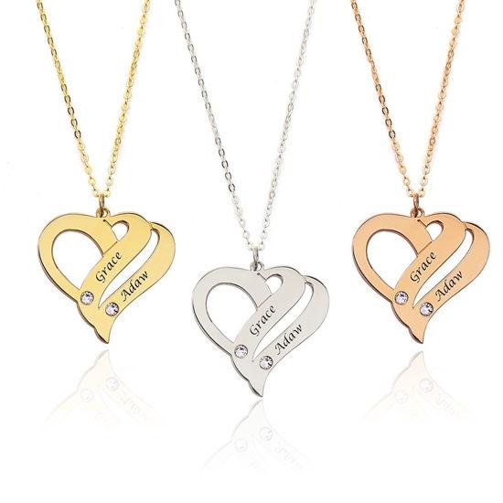 Immagine di Collana con nome personalizzato Two Hearts Forever One in argento sterling 925