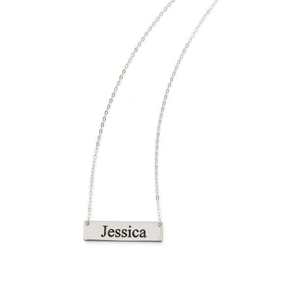Bild von Personalisierte Namensleisten-Halskette aus 925er Sterlingsilber - mit beliebigem Namen anpassen