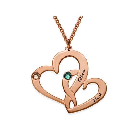 Imagen de Collar con dos corazones grabados en plata de ley 925