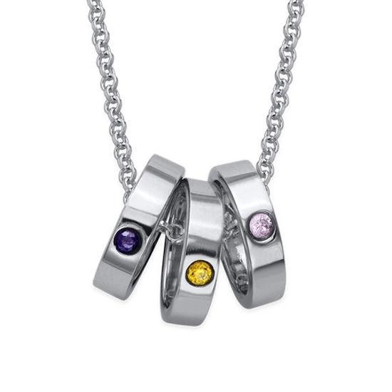 Imagen de Collar con anillo de madre con grabado en plata de ley 925