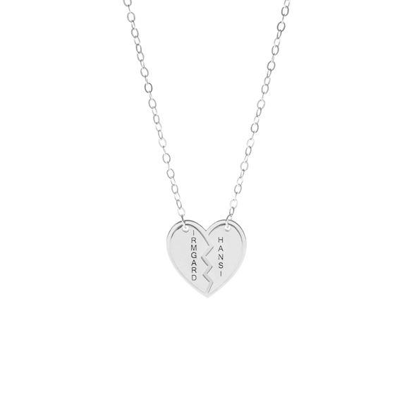 Imagen de Collar con forma de corazón personalizado con dos nombres en plata de ley 925