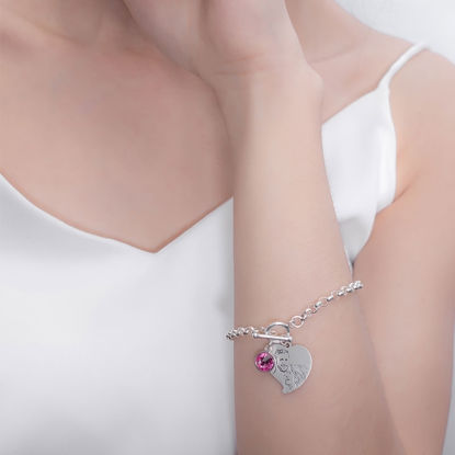 Imagen de Engraved Heart Photo Pendant Bracelet in 925 Sterling Silver