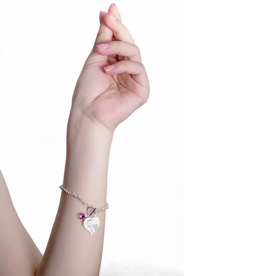 Imagen de Engraved Heart Photo Pendant Bracelet in 925 Sterling Silver