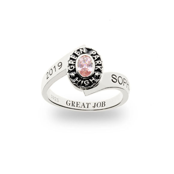Picture of Traditional Ladies Oval Wrap Class Ring in 925 Sterling Silver