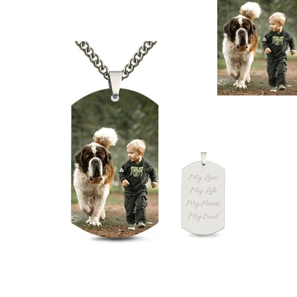 Picture of Engraved Stainless Steel Kid's Photo Tag Necklace
