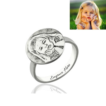 Picture of Personalized Photo Engraved Ring Memorial Gift In 925 Sterling Silver