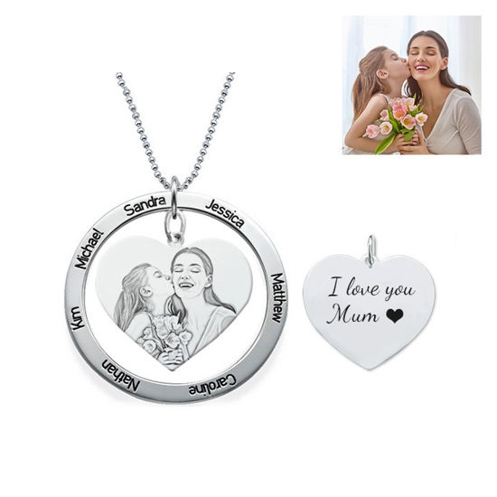 Imagen de Engraved Heart Pendant Photo Necklace With Round Name Disc In 925 Sterling Silver