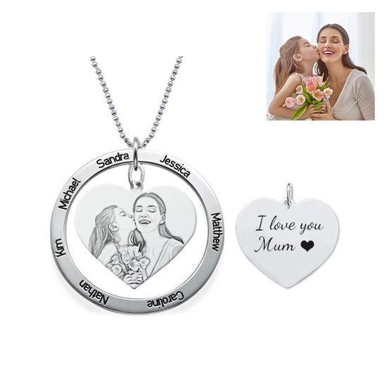 Imagen de Collar con foto colgante de corazón grabado con disco con nombre redondo en plata de ley 925