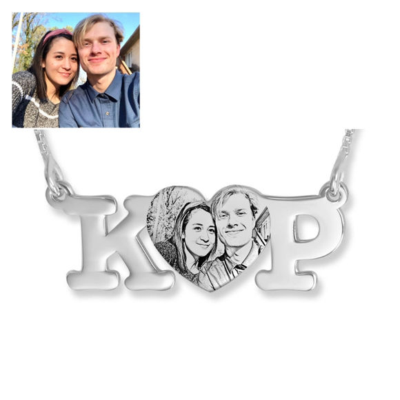 Picture of Engraved Heart Pendant Photo Necklace With Two Initials In 925 Sterling Silver