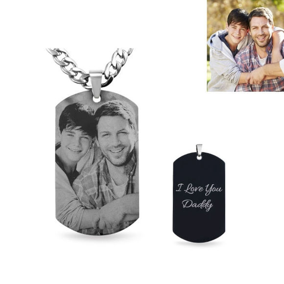 Picture of Titanium Steel Engraved Full View Photo Necklace