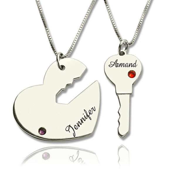 Picture of Key to My Heart Name Pendant Set for Couple in 925 Sterling Silver