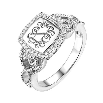 Picture of Women's Engraved Classic Monogram Ring in 925 Sterling Silver