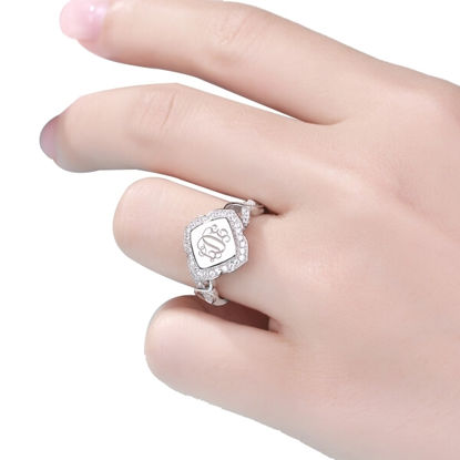 Picture of Custom Flower Design CZ Initial Monogram Ring