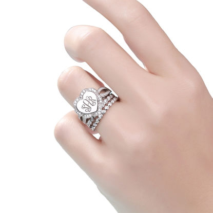 Picture of Engraved Heart Shape Stackable Monogram Ring