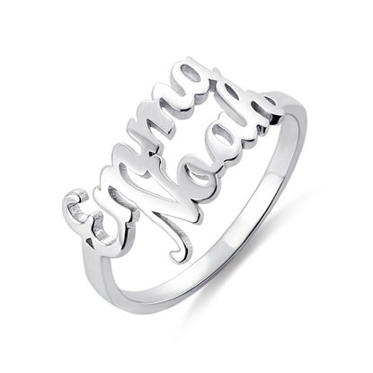 Picture of Personalized Double Name Ring in 925 Sterling Silver