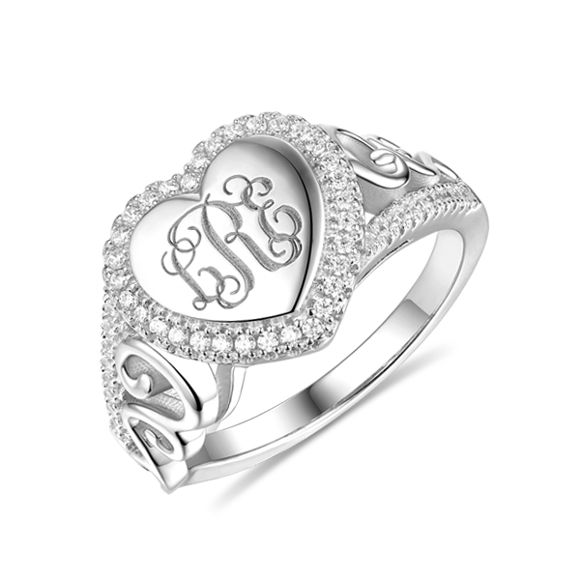 Picture of Engraved Heart Sterling Silver Monogram CZ Ring