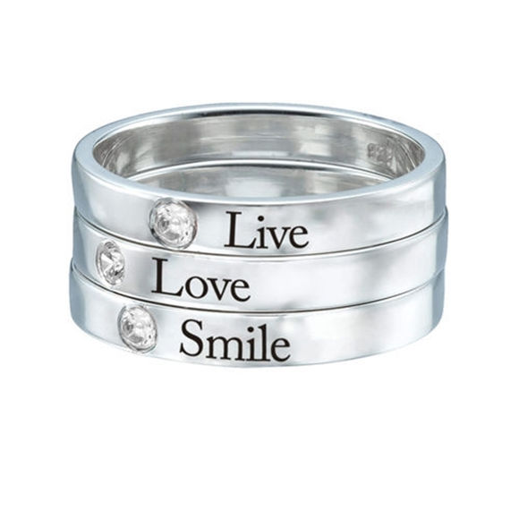 Picture of Stackable Birthstone Name Ring in 925 Sterling Silver