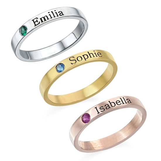 Imagen de Stackable Birthstone Name Ring in 925 Sterling Silver