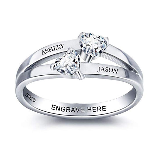 Imagen de Personalized Women Engraving Name Ring in 925 Sterling Silver