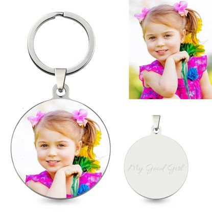 Picture of Personalized Colorful Round Pendant Photo Keychain Stainless Steel