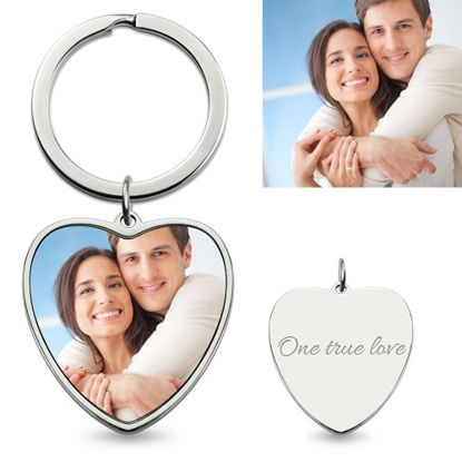 Picture of Personalized Colorful Heart Pendant Photo Keychain Stainless Steel