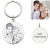 Picture of Personalized Round Pendant Photo Keychain in 925 Sterling Silver