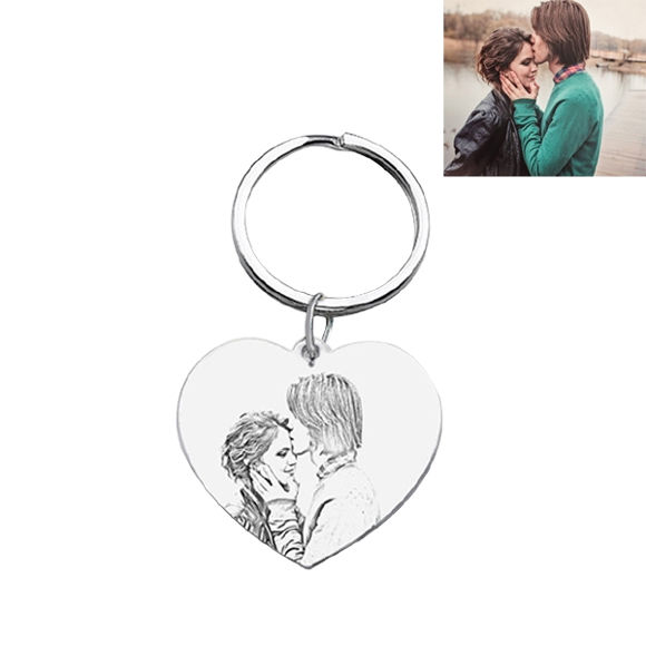 Picture of Personalized Heart Pendant Photo Keychain in 925 Sterling Silver